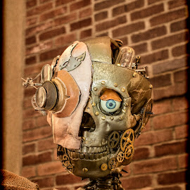 Steampunk by Karen Raymond Burke - Artistic Objects Other Objects ( cool, industrial, brick, texture, museum, skeleton, ., gears, steampunk )