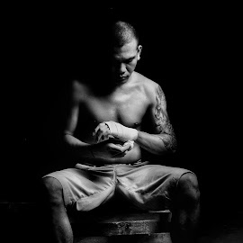 fighter not lover  by Sesar Arief - People Portraits of Men ( black background, black and white, fight, bw, fighter, asian )