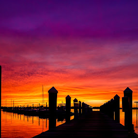 Dock Silhouette  by RomanDA Photography - Landscapes Sunsets & Sunrises ( water, sunset, fall, baltimore, landscape, beach, silhouette )