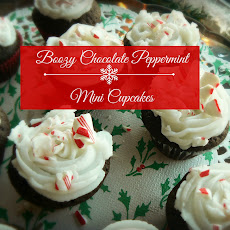 Boozy Chocolate Peppermint Mini Cupcakes with White Peppermint Frosting