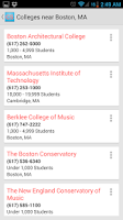 Screenshot of College Search