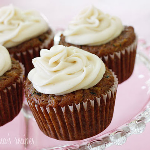 Pineapple Zucchini Cupcakes with Cream Cheese Frosting