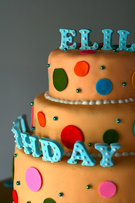 For The Decorations Cake Was Then Covered With Fondant Polka Dots Name And Birthday Wish Made Out Of Stuck On Royal Icing