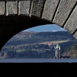 View through the dam by Stephen Tyler - Buildings & Architecture Other Exteriors ( wales, dams, lakes, aarches, landscapes )