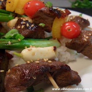 Beef Kebabs w Vegetable Medley