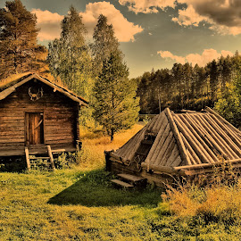 Old times.. by Ewa Nilsson - Buildings & Architecture Public & Historical ( old house trees clouds lapland sweden )