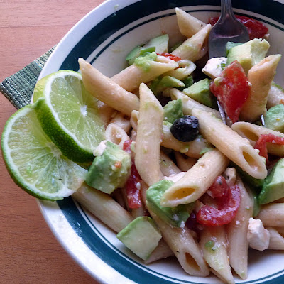 Pasta Salad with Avocado and Red Wine Vinaigrette