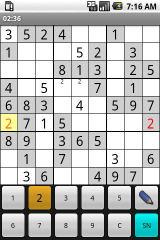 opensudoku for android screenshot