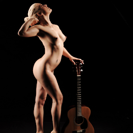 Shadows by Vineet Johri - Nudes & Boudoir Artistic Nude ( art nude, learn art nude photography london, studio lighting workshops, vkumar photography, guitar, beautiful girl )