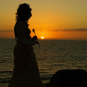 Silhouette  by Ron Jnr - People Street & Candids ( water, silhouette, sunset, evening sunset, gran canaria, lady, sea, evening )
