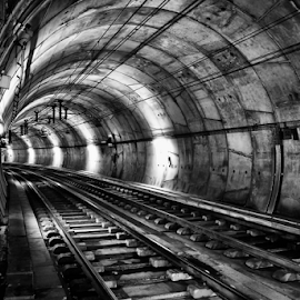 The Subway Tunnel by Antonio Amen - Black & White Buildings & Architecture ( subway, railway tracks, tunnel )