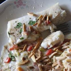 Halibut with Creamy Garlic and Herb Sauce