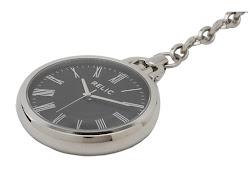 Relic - Round Black Dial Pocket Watch (Silver/Black) - Jewelry