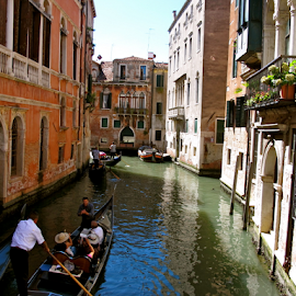 Canals of Venezia by null - Buildings & Architecture Homes ( water, venezia, pure, gondola, boats, venice, summer, people, italy, canal )