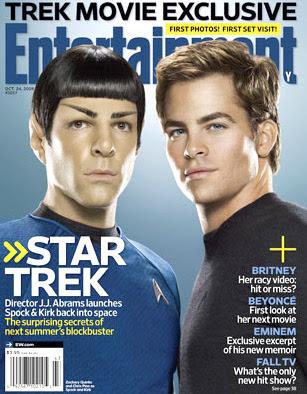 Entertainment Weekly com James Kirk (Chris Pine) e Mr. Spock (Zachary Quinto)