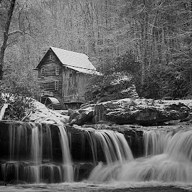 Glade Creek Mill by Bud Schrader - Buildings & Architecture Public & Historical ( mill, west va, glade creek, black and white, b&w, landscape )