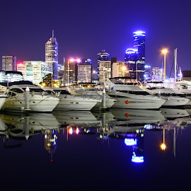 Mirror Boats  by Faith Stanes - City,  Street & Park  Skylines ( water, melbourne, boats, night, docklands,  )