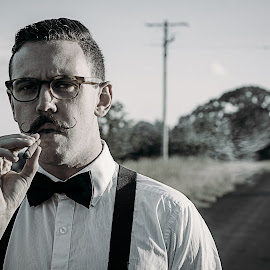 My Town by Matt Horspool - People Portraits of Men ( tash, mo, old school, grit, rural, smoke, country, cigar, tache, formal, farmer, smoking, moustache, suspenders )