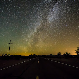 Road to the Galaxy by Ed Mullins - Landscapes Starscapes ( milkyway, stars, lake havasu, milky way )