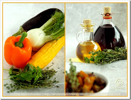 Caponata Ingredients (01) Diptych by MeetaK