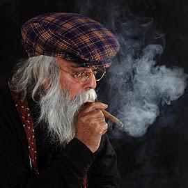 Man Smoking Cigar by Rakesh Syal - People Portraits of Men (  )