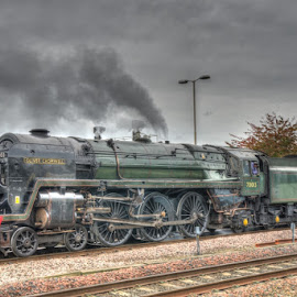 BR 70013 Oliver Cromwell by David Garnett - Transportation Trains ( britannia class, br 70013 oliver cromwell, chester, br 70013, oliver cromwell )