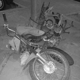 The Inevitable End of a Two-Wheeler by Catherine Arguelles - Transportation Motorcycles ( broken vehicles, broken motorcycle, black and white photography,  )