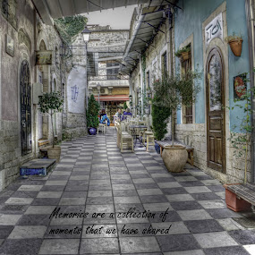 Ioannina by Stratos Lales - Typography Quotes & Sentences ( cafeteria, market, table, memories, city )