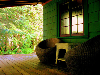 Wicker furniture on the wrap around porch