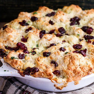 Easy Biscuit Appetizer with Brie, Blue Cheese & Cranberries