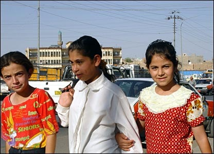 Young girls heading to the shops in a Kurdish area of Kirkuk