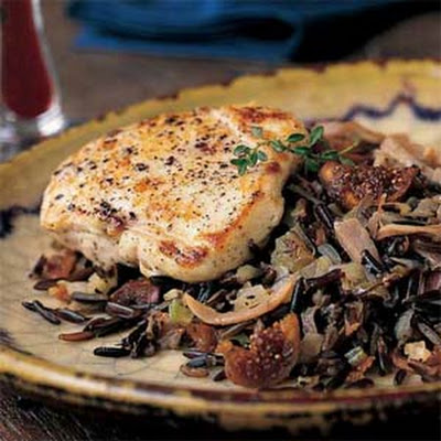 Chicken Breasts with Wild Rice-and-Fig Pilaf