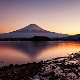 Mother,s Beauty of Japan by Nyoman Sundra - Landscapes Mountains & Hills ( mountain, kawaguchi, sunset, fuji, lake )