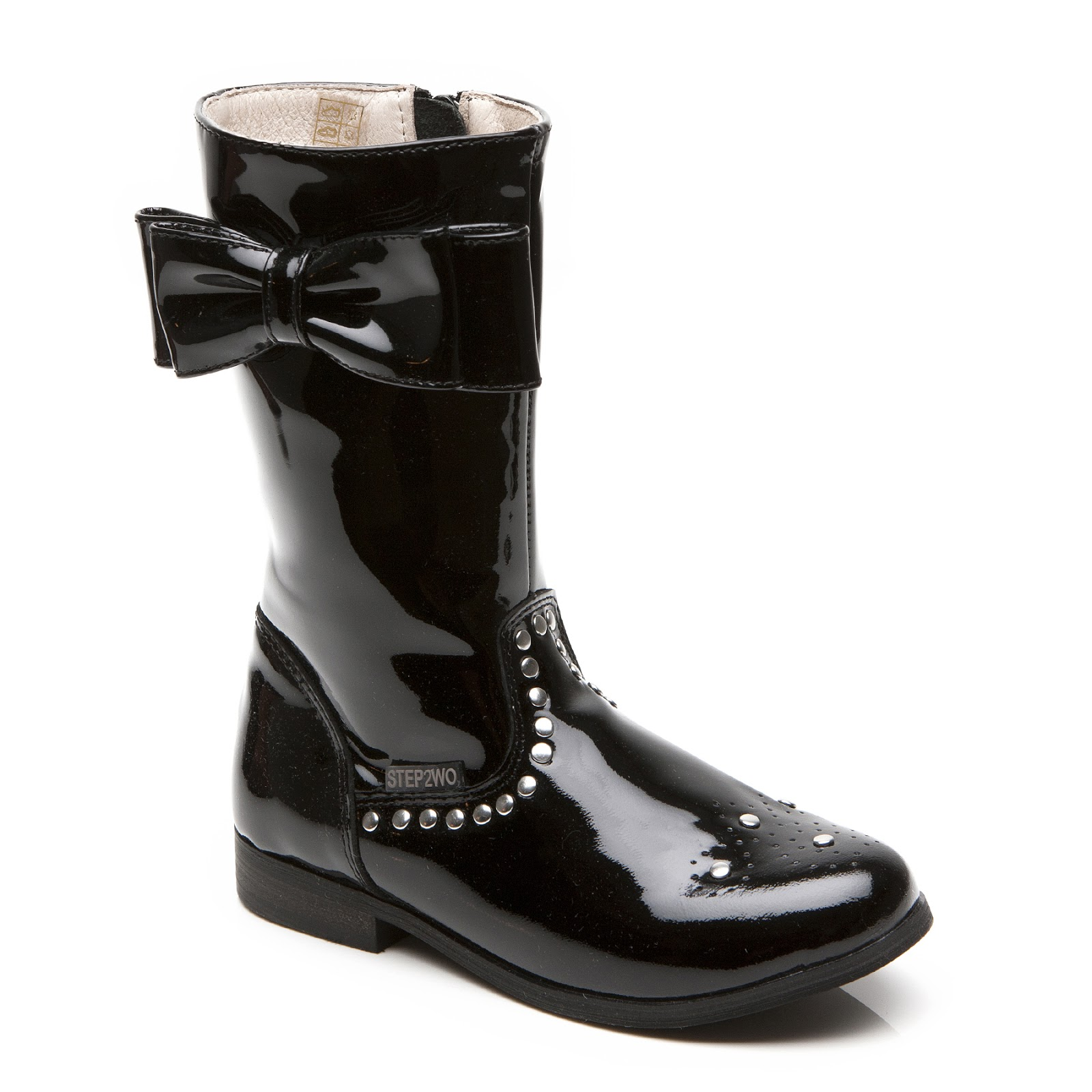 Step2wo | Step2wo | Teela - Patent Bow & Stud Boot Children's Boot ...