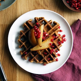 Molasses-Ginger Waffles topped with Roasted Pears