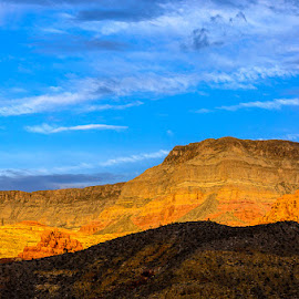 Holy Light by Leslie Nu - Landscapes Travel ( cedar pocket, az, mountains, az i-15, sunset, virgin gorge, light, golden hour )