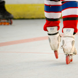 The Center by Jennifer Hawk - Sports & Fitness Other Sports ( center, hockey, red, skates, roller hockey, socks,  )