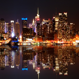 Edgewater at Night by Ferdinand Ludo - Buildings & Architecture Office Buildings & Hotels ( next to the water, lovely, edgewater, strong reflections, new jersey )