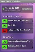 Screenshot of Universal Studios Wait Times