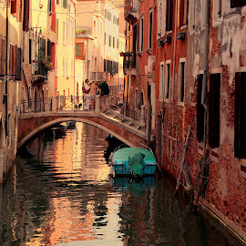 Bridge Over Troubled Waters by Martin Vanek - City,  Street & Park  Street Scenes ( water, venezia, venice, bridge, italy, canal )