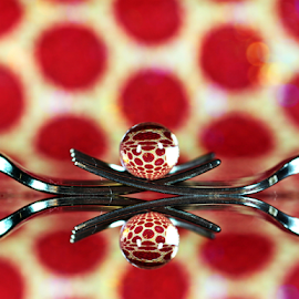 by Dipali S - Artistic Objects Other Objects ( reflection, red, polka, artistic, spheres, dots )