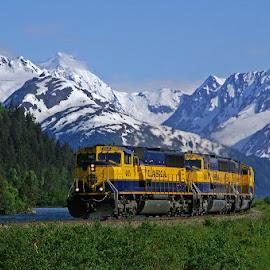 Northbound Coal. by Frank Keller - Transportation Trains ( mountains, anchorage, railroads, alaska, portage, trains, chugach )