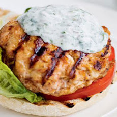 BBQ harissa turkey burgers with a watercress tzatziki