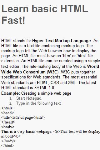 Learn HTML Fast