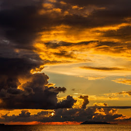 Sunset on Ionian sea by Viorel Stanciu - Landscapes Cloud Formations ( clouds, skyline, sunset, clouds and sea, landscape,  )