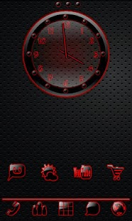 Sleek Ebony Red Clock Widget - screenshot