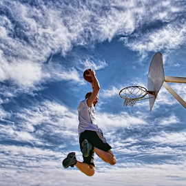Jump by Charlie Cook - Sports & Fitness Basketball ( clouds, basketball, hdr, blue )