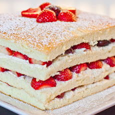 Summer Cake with Strawberries and Cherries