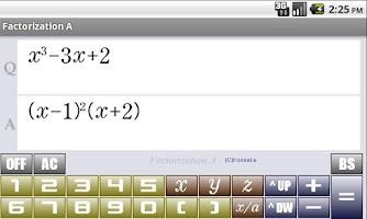 Screenshot of FactorizationA