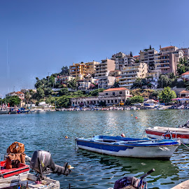 Kavala by Stratos Lales - City,  Street & Park  Street Scenes ( abandonned, houses, blue, sea, boat )